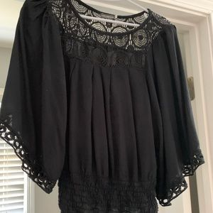 Earthbound black blouse with unique neck & sleeves